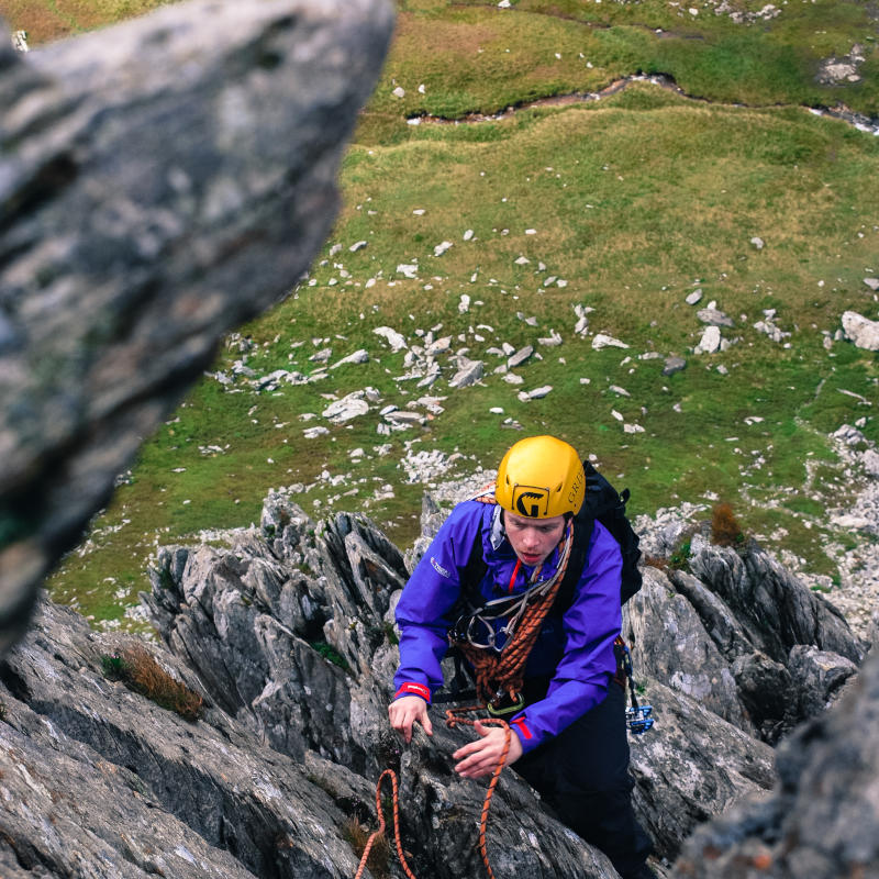Guided ascent of Cneifion arete Higher Climbing Wales