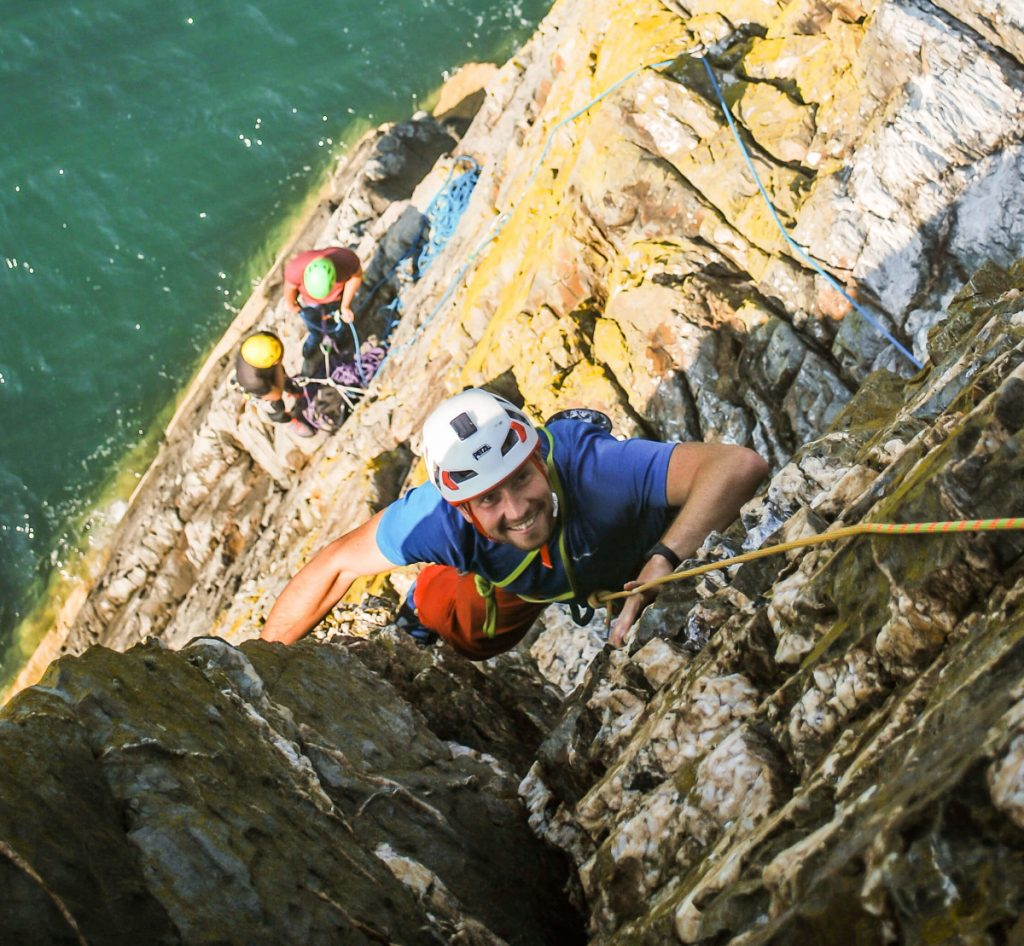 Sea cliff climbing course on Anglesey