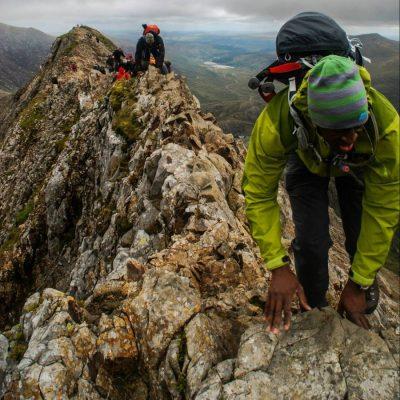Scrambling introduction over crib goch snowdonia higher climbing wales