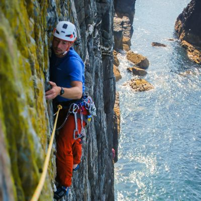 Guided sea cliff climbing on Anglesey higher climbing wales